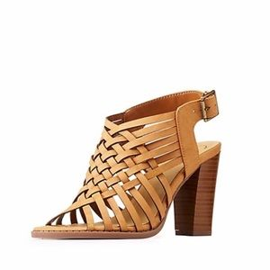 Shoes - camel open toe lattice heel sandal